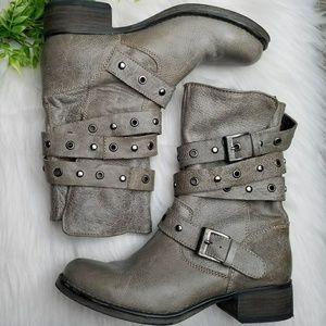 Steve Madden Gray Leather Combat Studded Boot